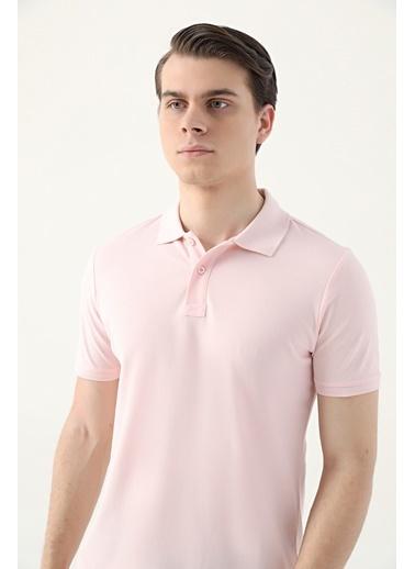 D'S Damat Regular Fitpike Dokulu T-Shirt Pembe